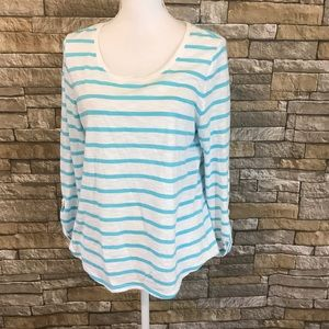 Chico's the Ultimate Tee White Blue Striped Shirt