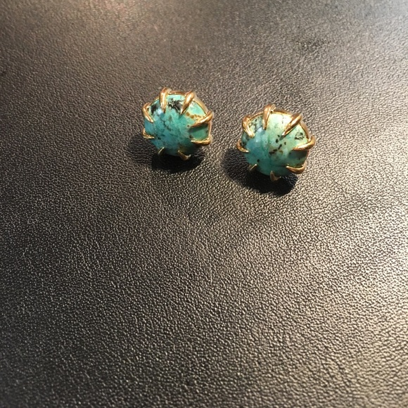 Anthropologie Jewelry - Anthropologie Isharya Gold Turquoise Stud Earrings