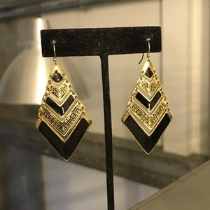 Vintage Black and Gold Tiered Earrings