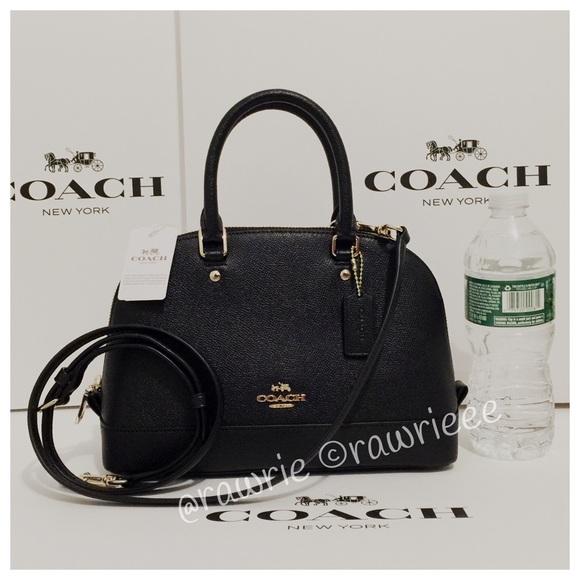 91384cd651 New Coach Black Leather Mini Sierra Domed Satchel