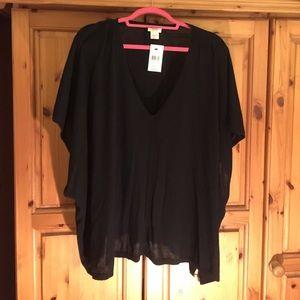 Club Monaco Black Cashmere Short Sleeve Top