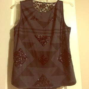 Express Black Sequin Sleeveless Shirt NWOT