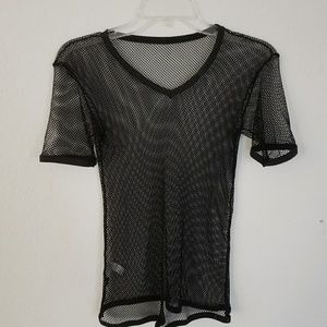 Black Short Sleeve Fishnet Shirt Vneck Gothic Punk