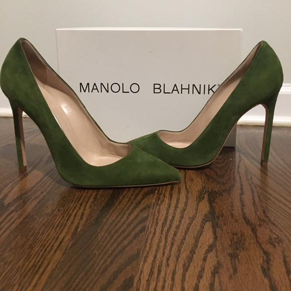 manolo blahnik shoes bb pump green suede 115mm poshmark rh poshmark com