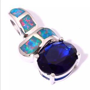 Jewelry - Just In🌷Rainbow Fire Opal Sapphire Pendant
