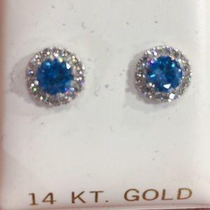 Jewelry - 14k Pure Gold Halo CZ Earrings