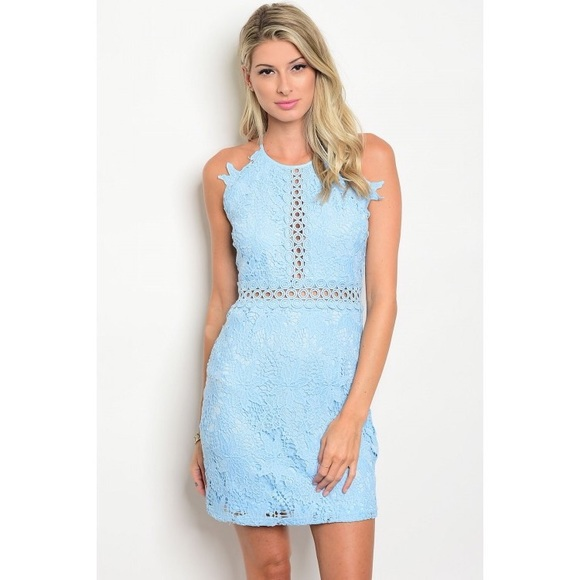 0421bb1e4b0 Sky blue lace dress cocktail dress sorority rush