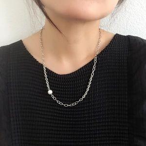 Handmade Modern Asymmetric Pearl Chain Necklace