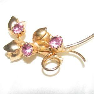 Pink glass or gemstone gold filled vintage brooch