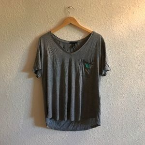 Hi-low soft t-shirt palm tree w/ writing design