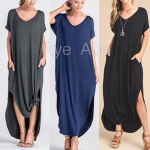 Dresses & Skirts - Over sized loose fit slit long maxi dress pockets