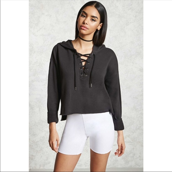 Forever 21 Tops - Forever 21 lace up cropped hoodie dc1093923