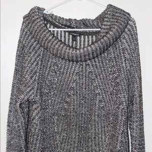 Express Cowl Neck Big Comfy Black & White Sweater