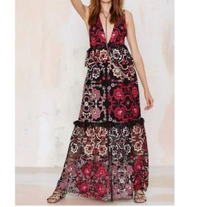 Nasty Gal embroidered maxi dress