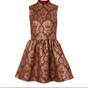 JACQUARD DRESS WITH MANDARIN COLLAR