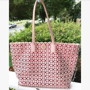 0659f56375a6 Tory Burch Bags - Tory Burch Kelsey Laser-Cut East-West Tote Pink
