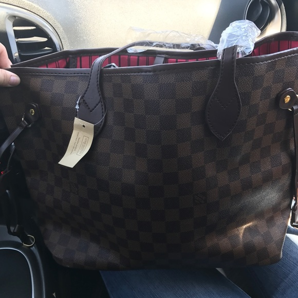 adc0f45be31f Louis vuitton neverfull damier ebene print lv