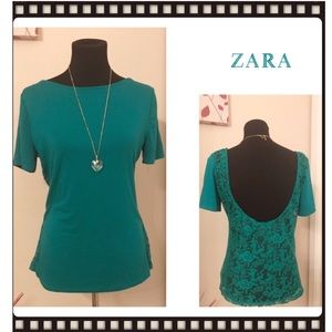 Zara Trafaluc Green Lace Open Back Top