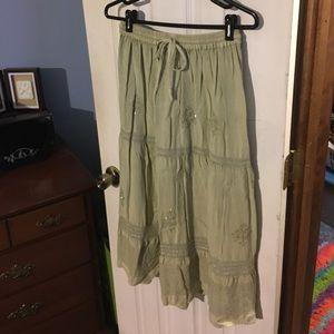 Sage green hippie skirt