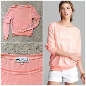 "Wildfox ""I Hate Mondays"" Pink / Coral Sweatshirt S"