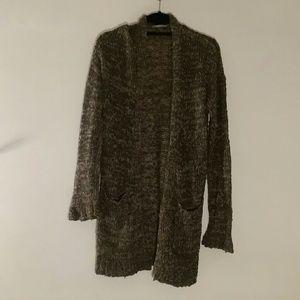 Rubbish Green & Brown Open Knit Long Cardigan