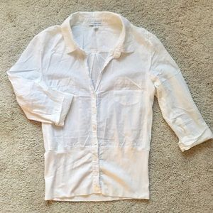 James Perse White Collared Button-Up Shirt 2