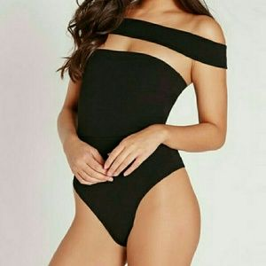 NWT Missguided Cut Out Panel Bardot Bodysuit