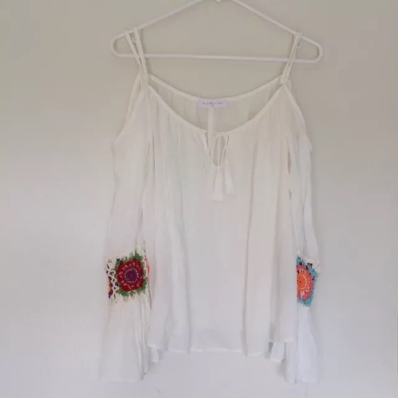 The Line of Style Tops - Line of Style Floral Embroidered Cold Shoulder Top