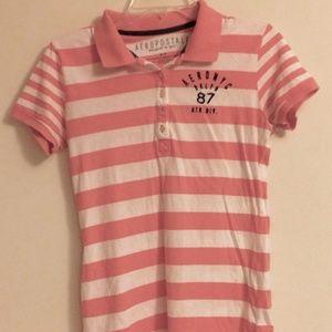 Aeropostale Pink Striped Junior Shirt