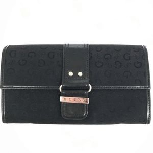 Guess Black Silver Continental Wallet