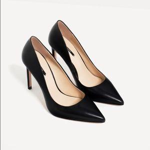 Zara black leather high heels w/ metallic detail