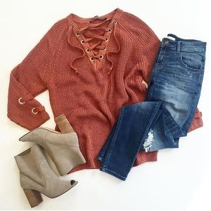 Sweaters - Burnt Orange Lace-Up Chunky Sweater