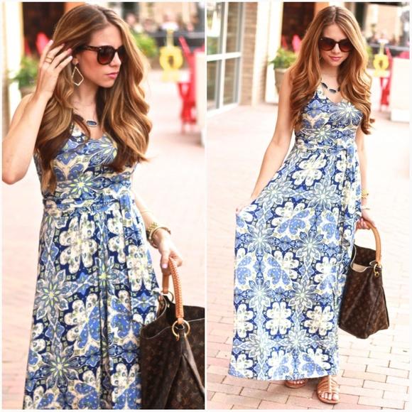 421f3c960236 Anthropologie Dresses & Skirts - Vanessa Virginia Capuchina Blue Maxi Dress  Medium