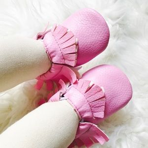 Other - Pink moccasins,baby moccs,girl moccasin,pink moccs