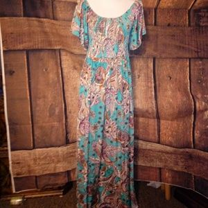 Dresses & Skirts - NWT PLUS SZ 2X TEAL PAISLEY MAXI DRESS