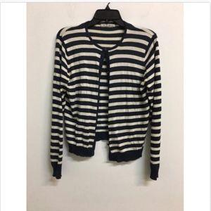 CAbi Nautical Stripe Cardigan Silk/Cashmere L