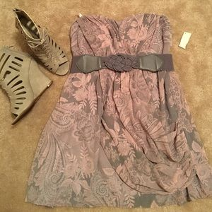 NWT Strapless Short Dress with Removable Belt