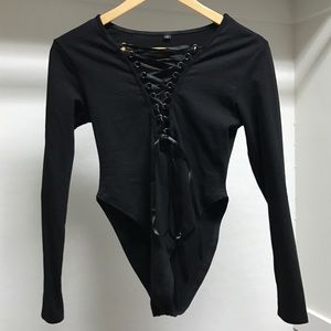Tops - Black lace up bodysuit
