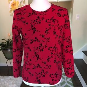 Talbots petites red and black top size Small.