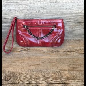 NWOT Patent Red Faux Leather Wristlet