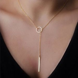 Jewelry - Chic Y Shaped Circle & Bar Lariat Style Necklace