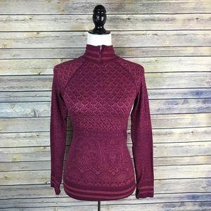 Athleta Maroon Printed 1/4 Zip Pullover