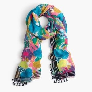 J.Crew Floral Scarf With Tassels