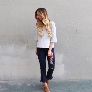 rose patch fringe pants