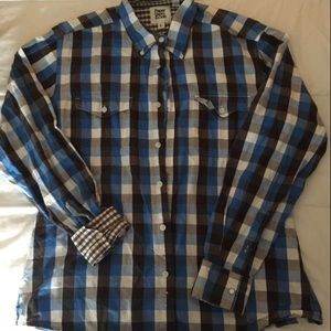 Blue and black button down