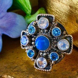 Sterling Nicky Butler Iron Cross Cluster Ring