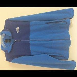 8125b2306 Men's North Face zipup fleece bright blue 2 tone M