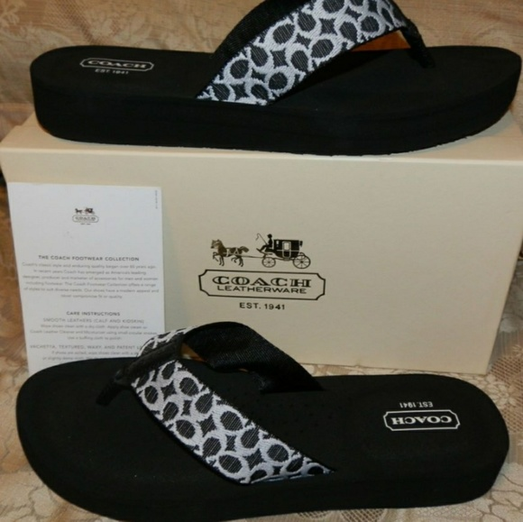 c3163dc91 Coach Shoes - Coach jessalyn webbing black ivory flip flops