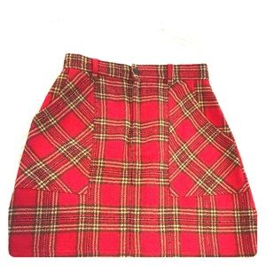 Banana Republic classic red plaid wool skirt