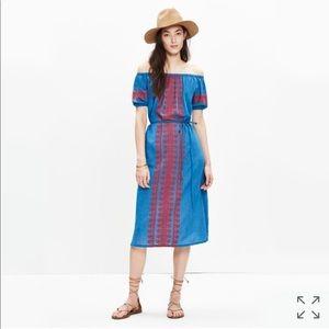 Madewell Denim Embroidered Market Dress